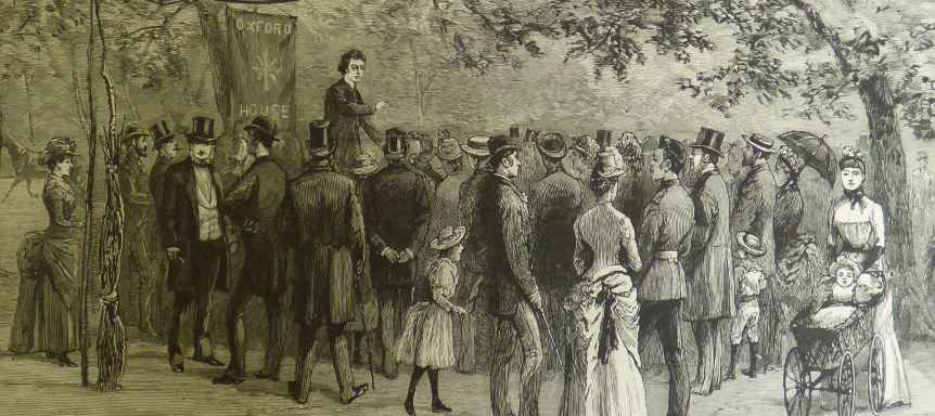 4. University Missions at the East End Oxford House Bethenal Green 1888 - Illustration Sunday Afternoon  Lectures at Victoria Park