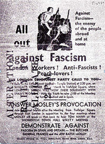 Poster advertising the march against fascism. Wikipedia.